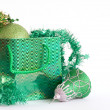 Royalty-Free Stock Photo: Green bag with christmas toys