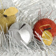 Royalty-Free Stock Photo: Three christmas tree apples in glare