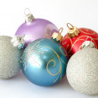Five christmas balls — Stock Photo