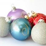 Five christmas balls — Stock Photo