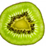 Closeup kiwi fruit in backlight — Stock Photo #1143242