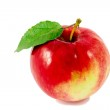 Ripe red apple with leaf isolated on whi — Stock Photo