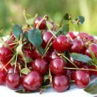 Plate with fresh red cherries — Stock Photo #1143366