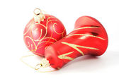 Red Christmas bauble and bell — Stock Photo