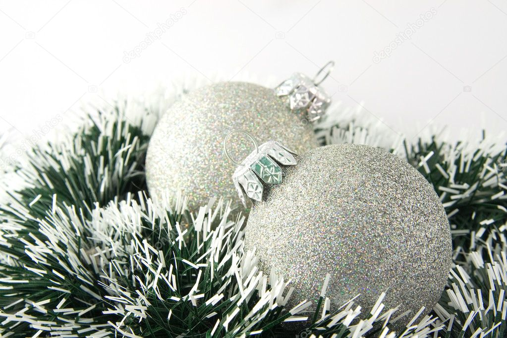 Two christmas balls. Decoration on imitation of fir brunch — Stock Photo #1142192