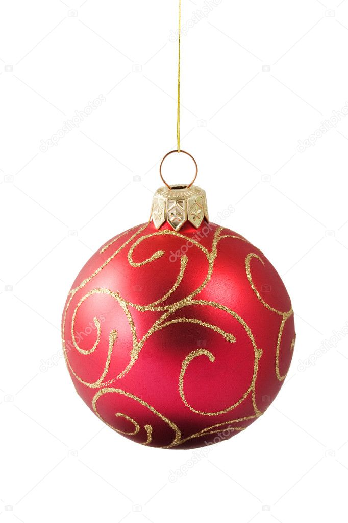 Hanging red Christmas bauble with ornament isolated on white background — Photo #1142354