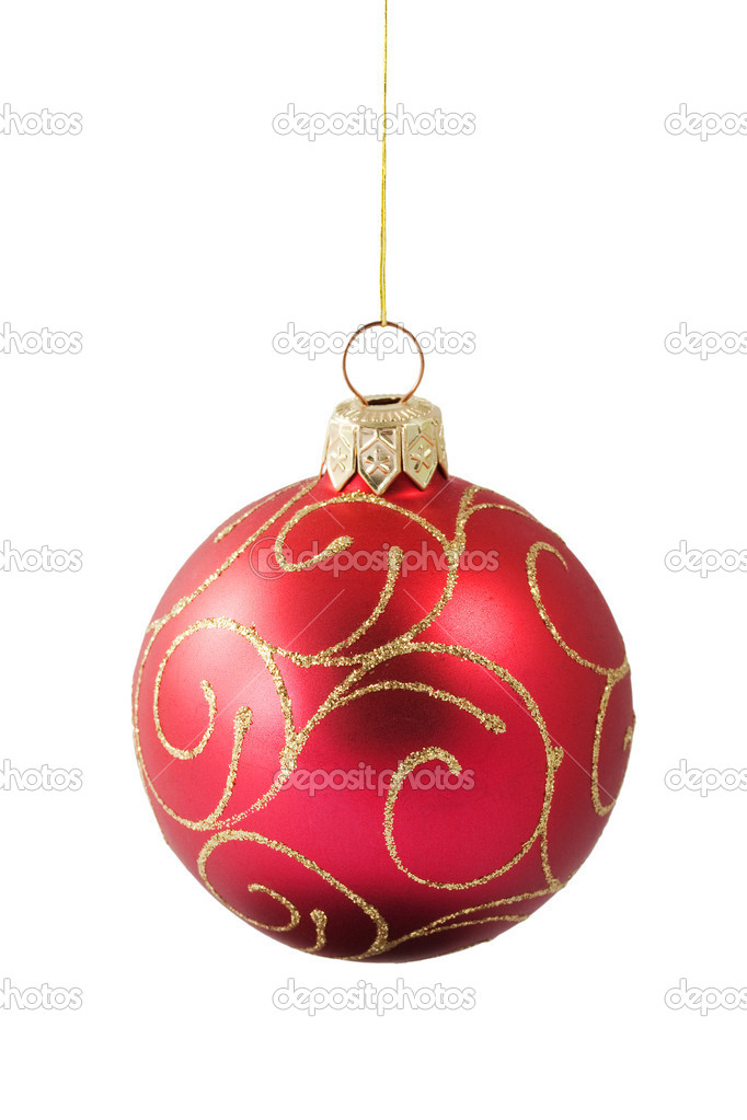 Hanging red Christmas bauble with ornament isolated on white background — Stock Photo #1142354
