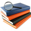 Magnifying glass on stack of books - Stock Photo