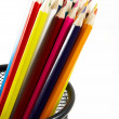 Bunch of color pencils on white — Stock Photo