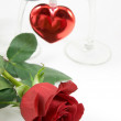 Red rose and heart — Stock Photo