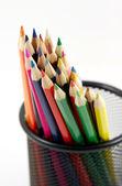 Mazzo di matite colorate su bianco — Foto Stock