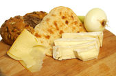 Cheese, bread and onion — Stock Photo