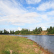 Onega riverbank in sunny day near Kargop — Stock Photo