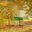 Green bench on bank of pond — Stock Photo #1240283
