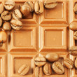 Chocolate bar with coffee beans as backg — Stock Photo