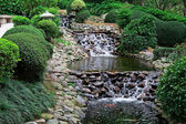 Waterfall in japanese garden — Stock Photo