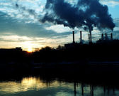 Chemical factory at dawn — Stock Photo