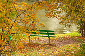 Green bench on the bank of the pond — Stock Photo