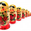 Russian dolls in line — Stock Photo