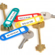 Keys with colored labels - Stock Photo