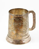 An old silver beer tankard — Stock Photo