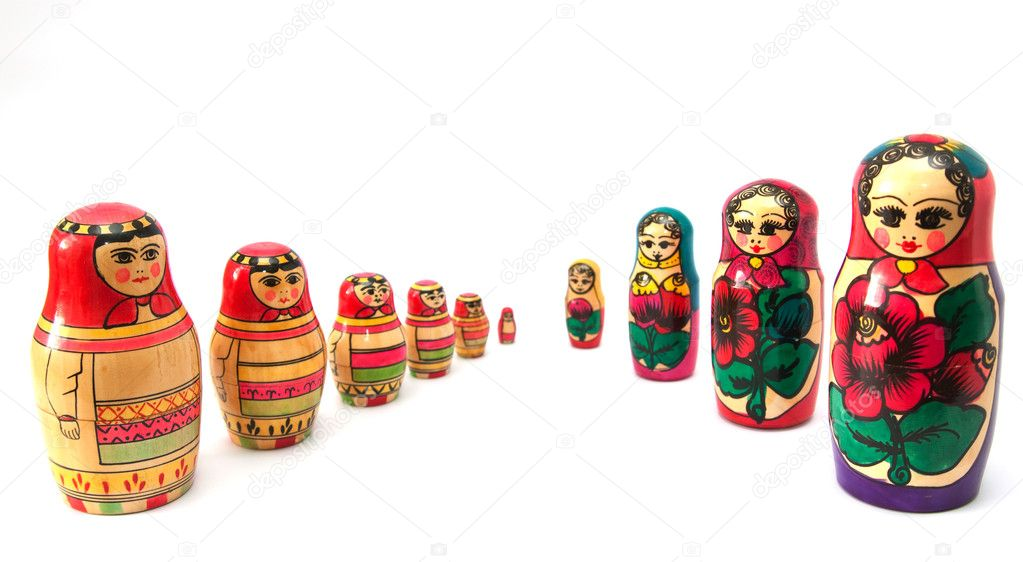 Russian dolls on white background — Stock Photo #1255886