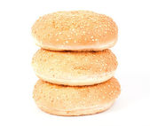 Three white bread roll with sesame — Stock Photo