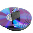 Padlock on CD disks — Stock Photo