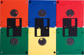 Floppy disks of different colors — Stock Photo