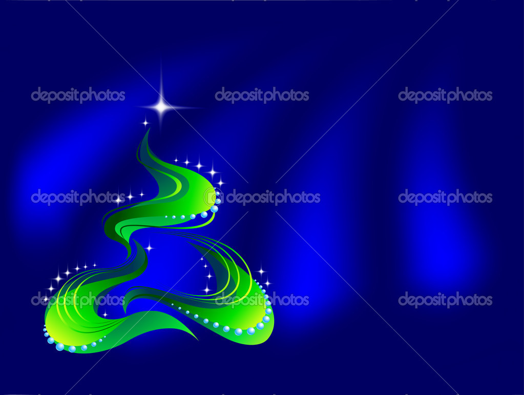 Christmas tree on blue background  Imagen vectorial #1140020