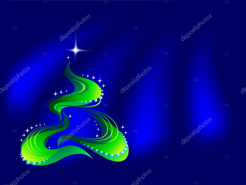 Christmas tree on blue background — Stock vektor #1140020