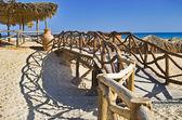 Beach with bridge — Stock Photo