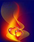 Abstract background with two hearts — Stock Vector