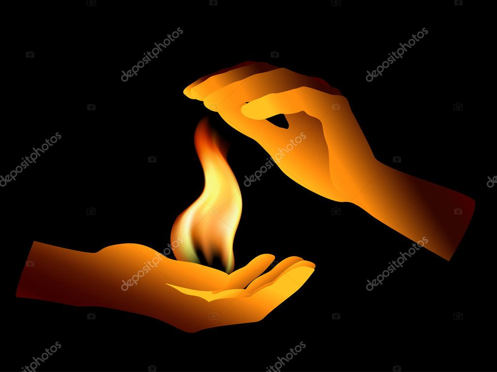 Human hands keep fire  Stock Vector #1153049