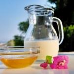 Milk and honey — Stock Photo