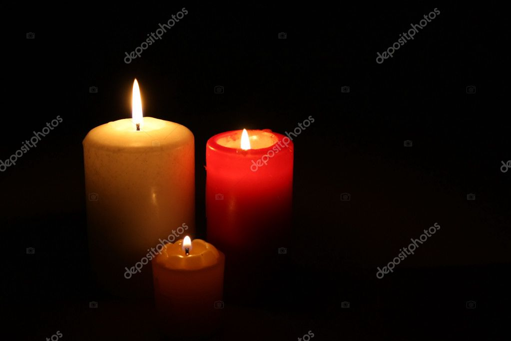 These candles are looking such a family: Candle-Daddy Candle-Mommy and Candle-Kid — Stock Photo #1104925