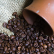 Coffee Pot and Coffee Beans - Stock Photo