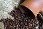 Coffee Pot and Coffee Beans — Stock Photo