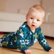 6 month old baby crawling on floor at home — Stock Photo