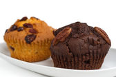 Two muffins on a plate — Stock Photo