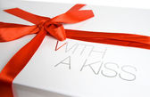 Gift box with a kiss — Stock Photo