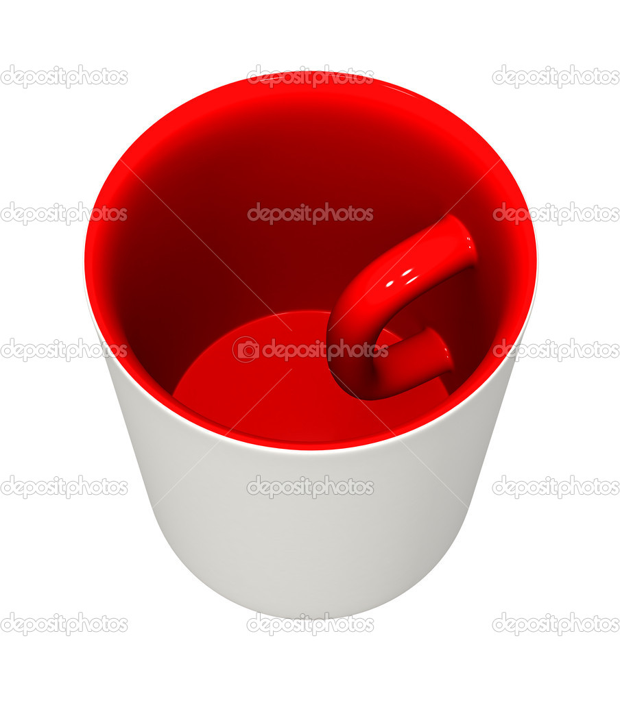 Three-dimensional model - a mug with the handle inside and the inverted colors. — Stok fotoğraf #1140782