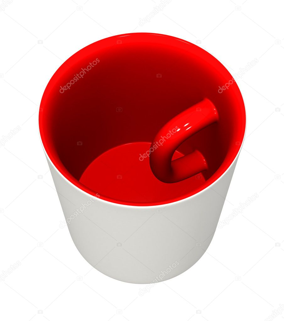Three-dimensional model - a mug with the handle inside and the inverted colors.  Zdjcie stockowe #1140782