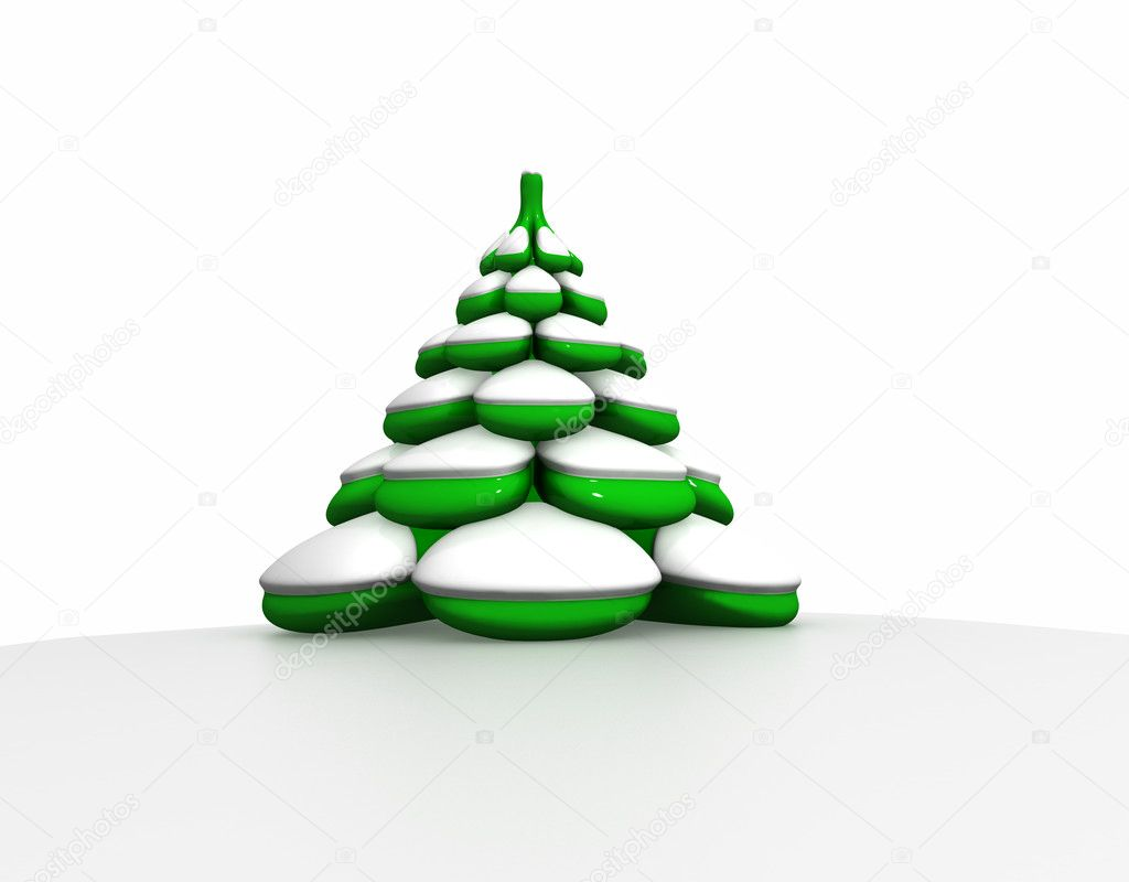 Three-dimensional model of a toy. A fur-tree under snow.  Stock Photo #1142830