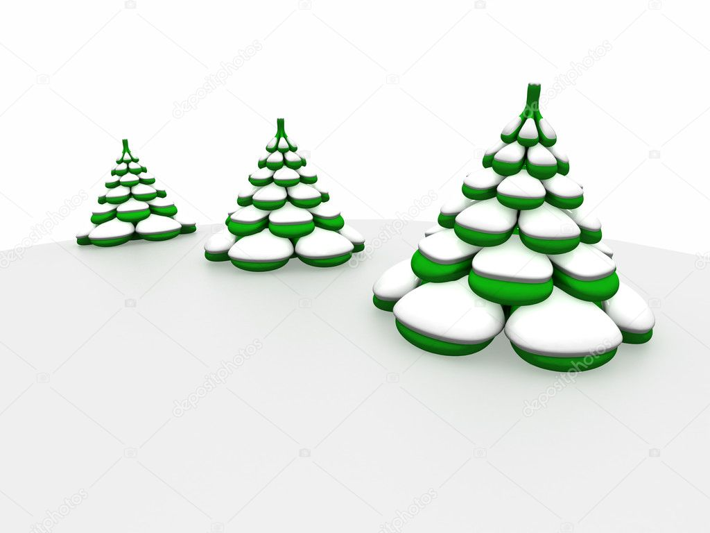 Three-dimensional model of a toy. Three fur-trees under snow — Stock Photo #1142835