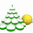 Christmas tree and ball — Stockfoto