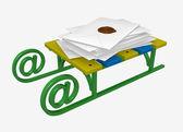 Sáně s hromadu dopisů — Stock fotografie