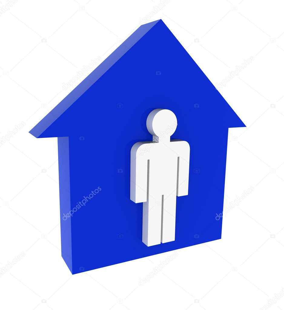 Three-dimensional model - a silhouette of a house and a human figure. — Stock Photo #1190937