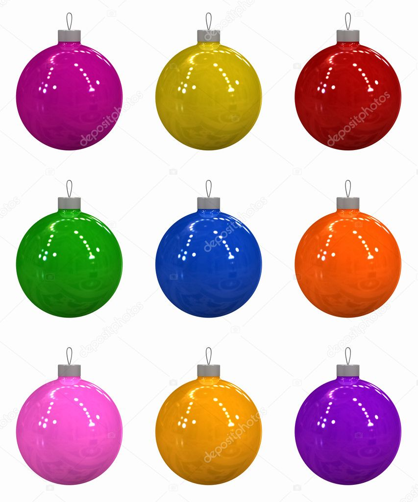 Three-dimensional model - multi-coloured Christmas toys on a white background.  Lizenzfreies Foto #1191539