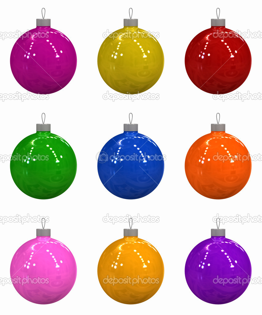 Three-dimensional model - multi-coloured Christmas toys on a white background. — Foto de Stock   #1191539